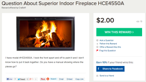 Reward for Help with My Fireplace