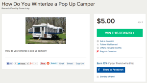 Reward for Winterizing Pop Up Camper