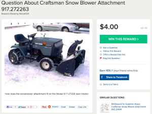 Reward for Help with Snow Blower Attachment